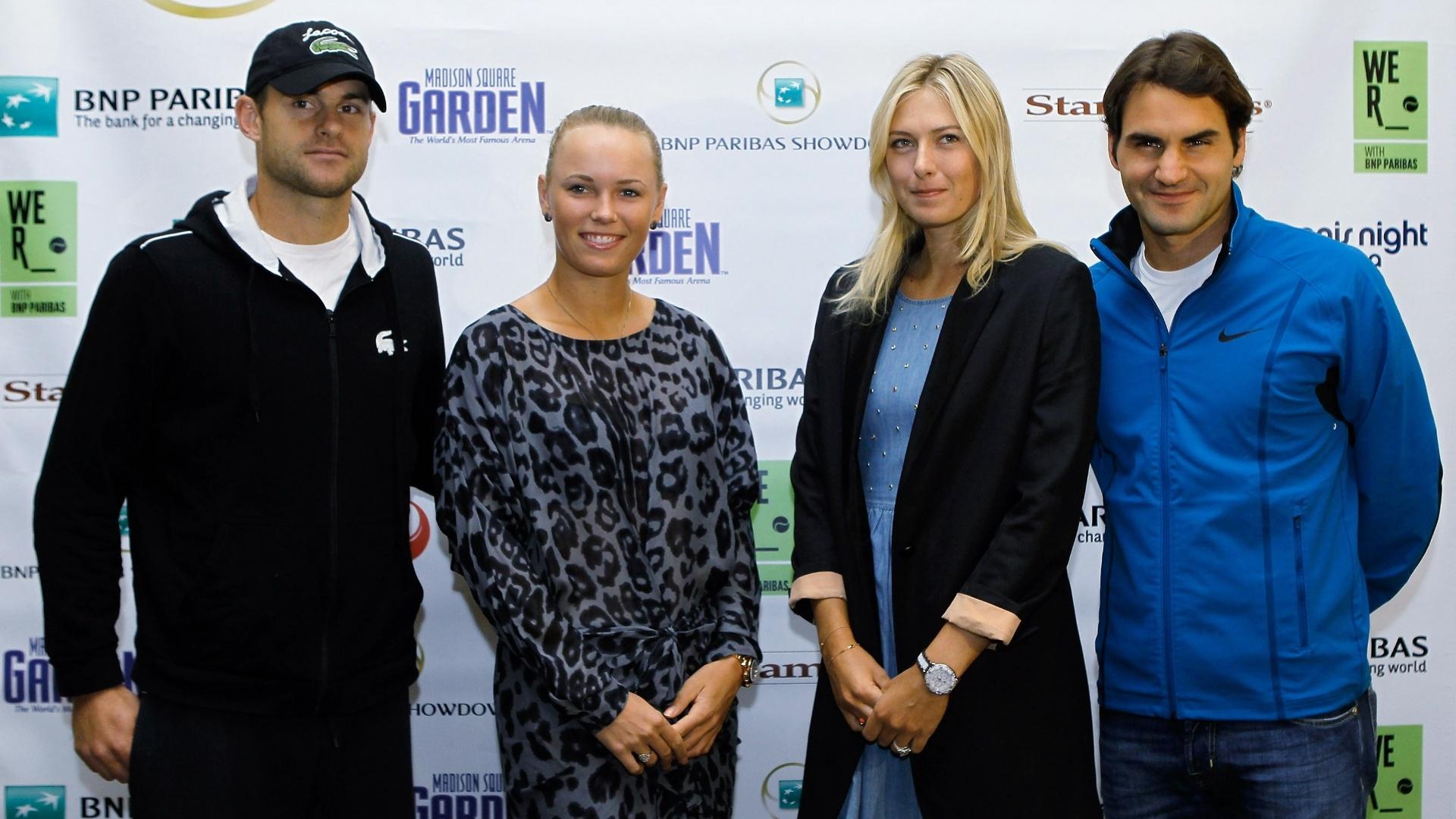 Andy Roddick, Caroline Wozniacki, Maria Sharapova e Roger Federer concedem entrevista antes de fazerem jogos-exibições no Madison Square Garden (05/03/2012)