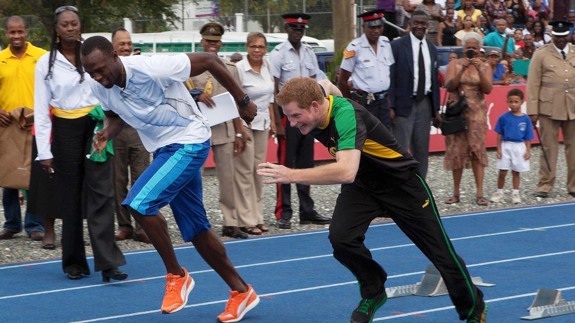 Príncipe Harry levou a sério o desafio contra o jamaicano campeão olímpico dos 100 m e 200 m