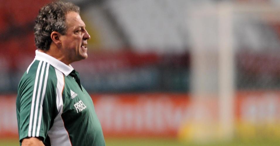 O técnico do Fluminense, Abel Braga desapontado com seu time no segundo tempo