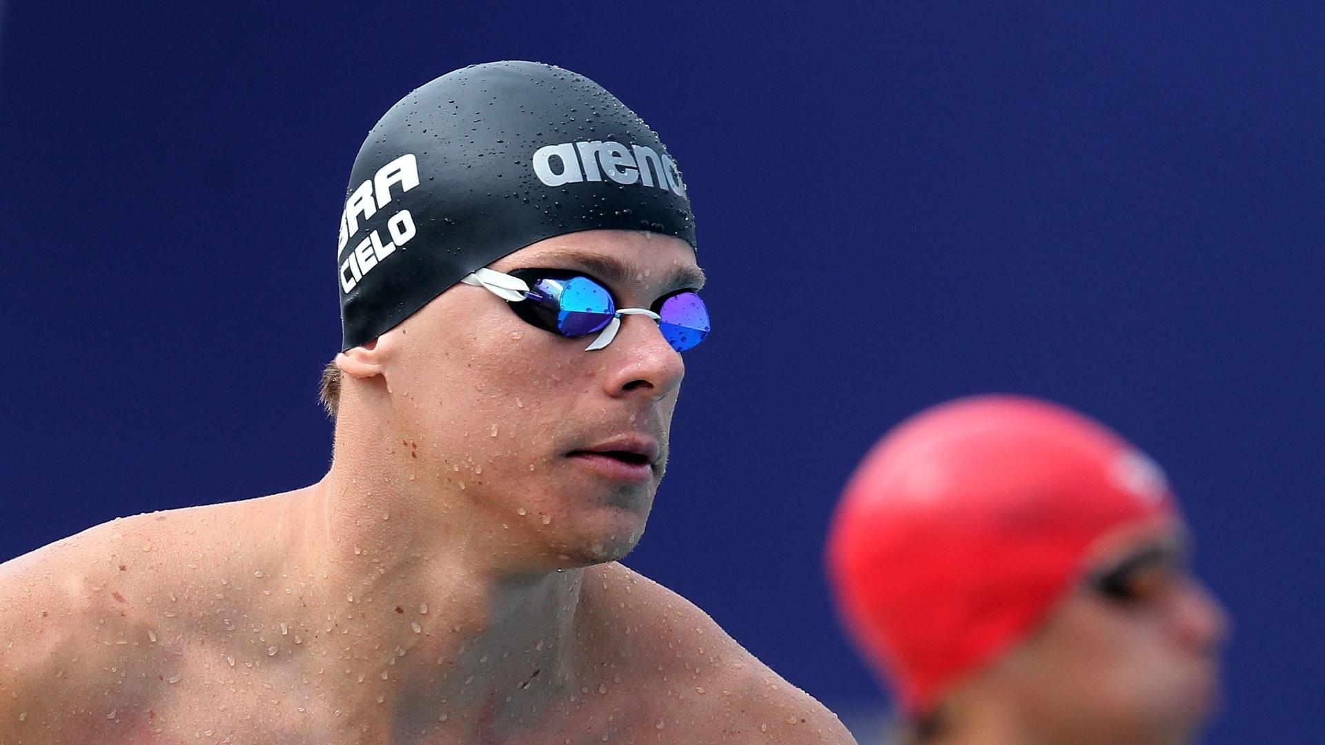 Cesar Cielo após nadar prova dos 50m borboleta. Ele ficou em terceiro na eliminatória