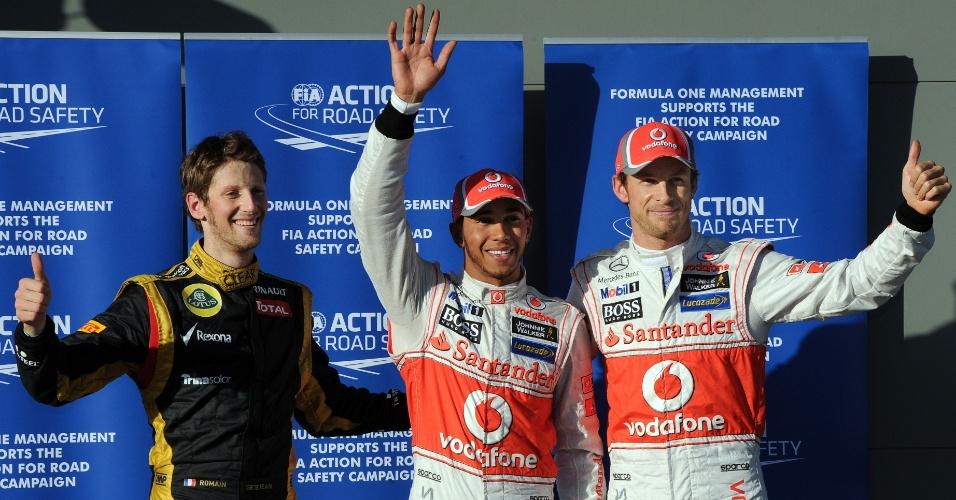 Lewis Hamilton, Jenson Button e Romain Grosjean largam nas três primeiras posições no GP da Austrália