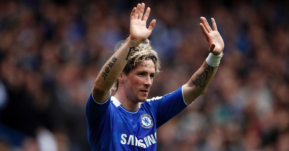 Fernando Torres, do Chelsea, celebra após marcar contra o Leicester City no estádio Stamford Bridge, em Londres