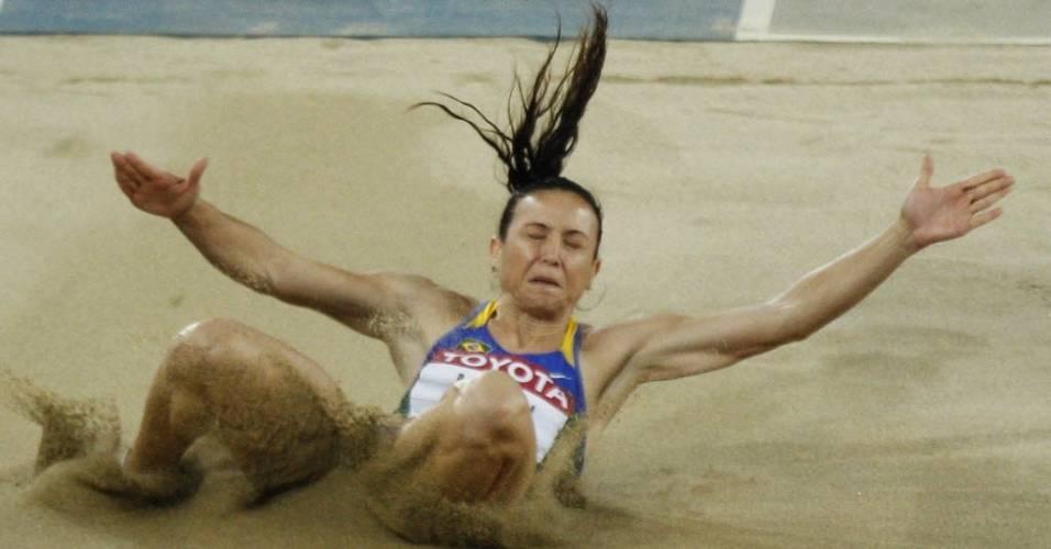 Maurren Maggi passou à final do salto em distância com a melhor marca no Mundial de Daegu (27/08/2011)