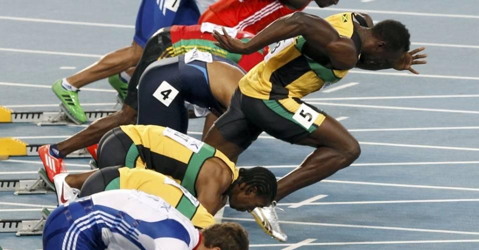 Usain Bolt queima largada e está desclassificado da final dos 100 m rasos do Mundial de Daegu (28/08/2011)