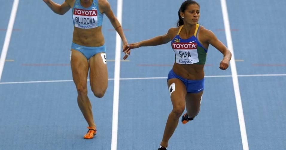 Brasileira Ana Cláudia Silva completa bateria eliminatória dos 100 m rasos do Mundial de Daegu (28/08/2011)