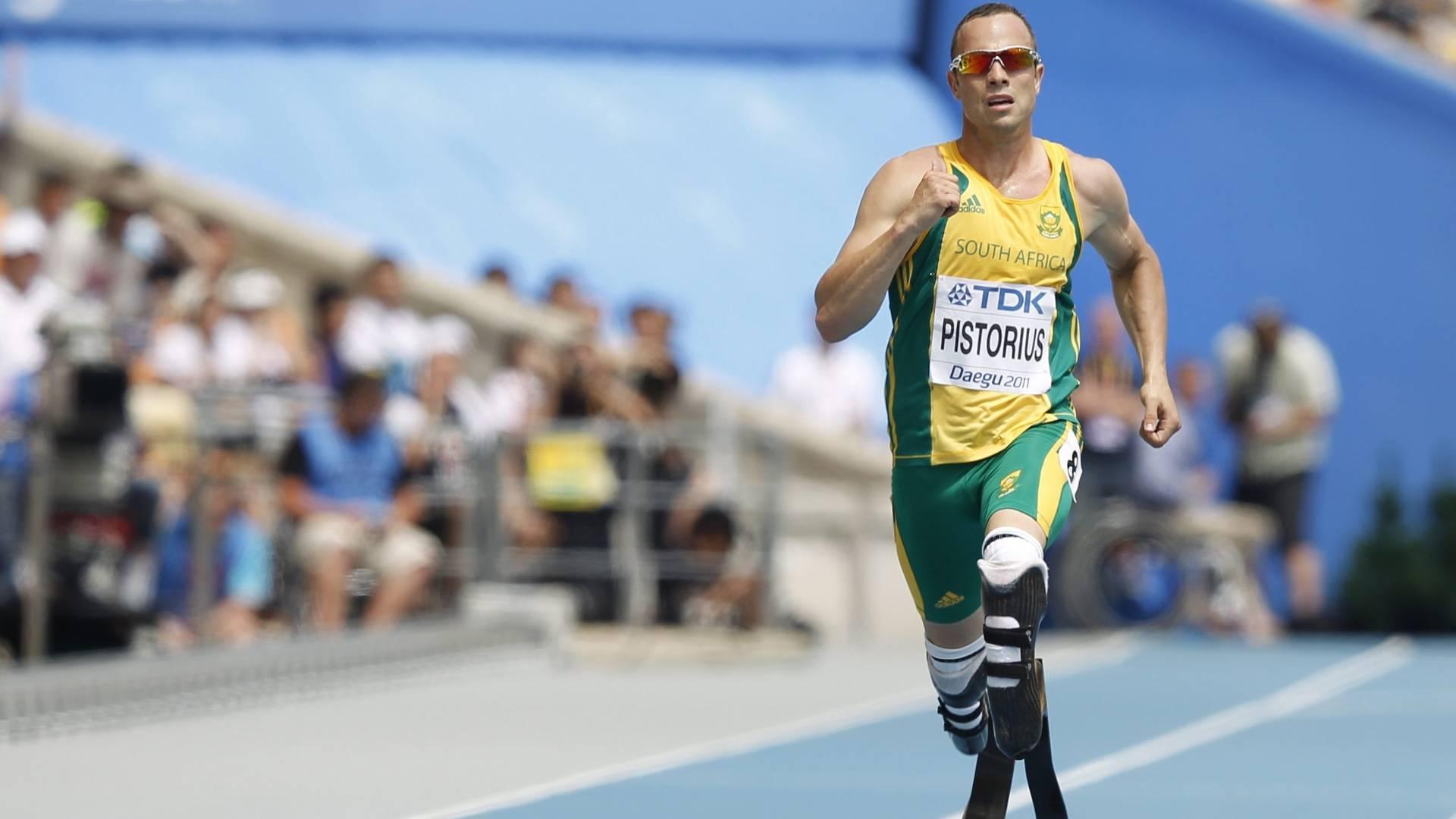 Oscar Pistorius disputa eliminatória dos 400 m pelo Mundial de atletismo em Daegu (28/08/2011)