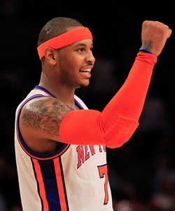 Carmelo Anthony vibra durante a vitória dos Knicks sobre os Nets