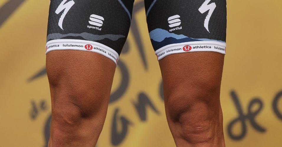 Sprintista suíço Fabian Cancellara, campeão olímpico e mundial, mostra as pernas torneadas para poder dar suas pedaladas