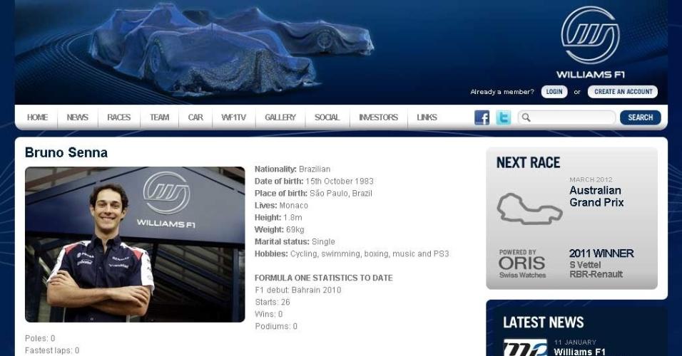 Reprodução do perfil de Bruno Senna no site da Williams, que vazou antes da confirmação da contratação (17/01/2012)