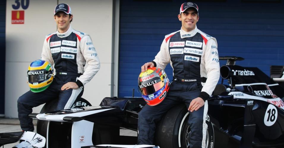 O brasileiro Bruno Senna e o venezuelano Pastor Maldonado apresentam o novo carro da Williams para a temporada 2012 (07/02/2012)
