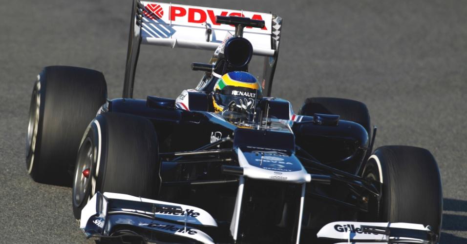 Bruno Senna terminou em último a manhã do último dia de testes da F-1 em Jerez (10/02/12)
