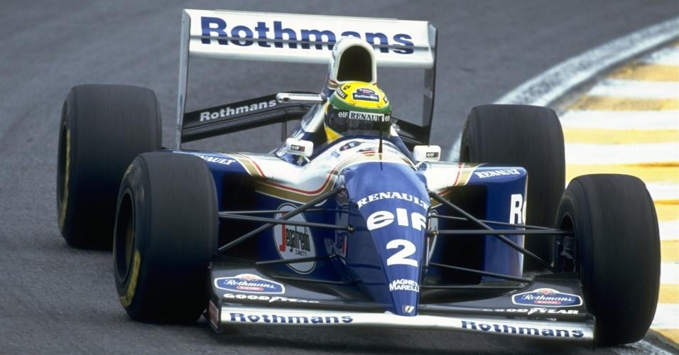 Ayrton Senna guia sua Williams durante o Grande Prêmio do Brasil de 1994