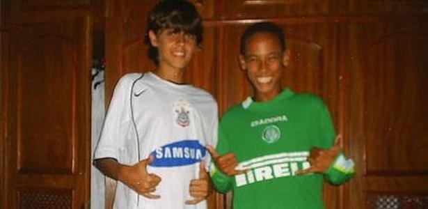 Foto de Neymar mostra atacante com camisa do Palmeiras quando era da base do Santos - Reprodução/internet