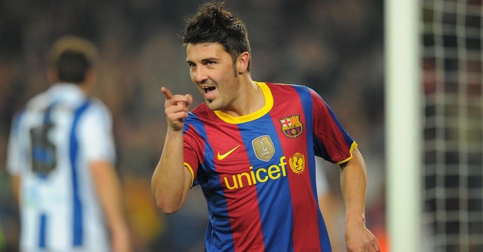 David Villa comemora o gol marcado pelo Barcelona contra o Real Sociedad