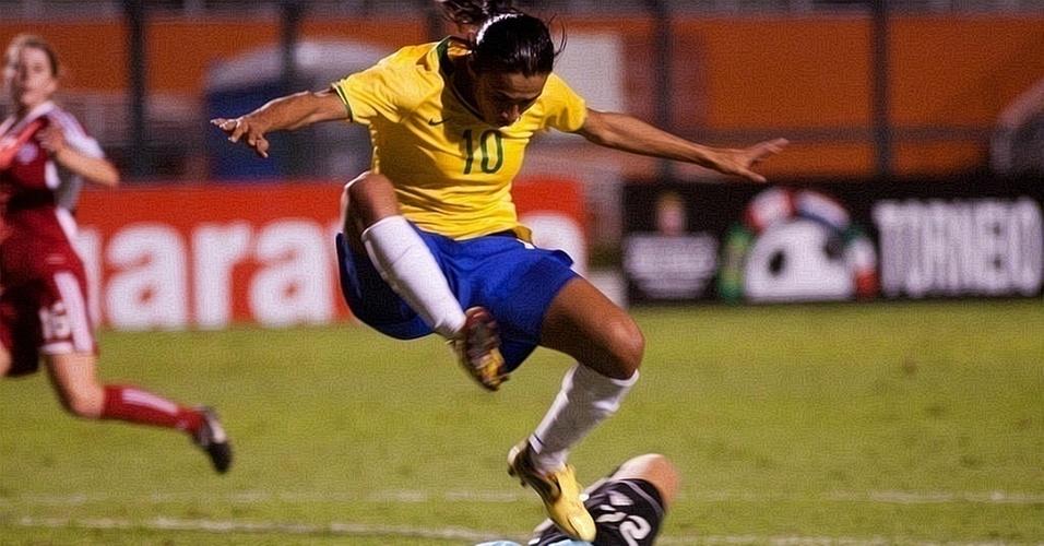 Marta em lance do jogo da seleção brasileira no Pacaembu