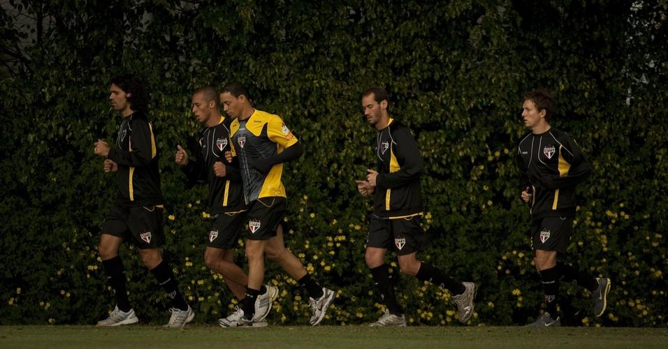 Fernandão, Miranda, Ricardo Oliveira, Rodrigo Souto e Dagoberto treinam no São Paulo