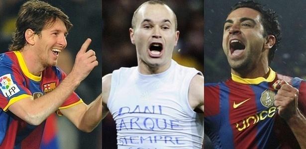 Messi, Iniesta e Xavi, finalistas da Bola de Ouro da Fifa