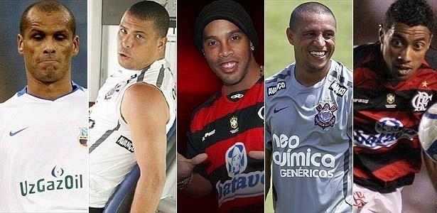 Montagem com Rivaldo, Ronaldo, Ronaldinho, Roberto Carlos e Kleberson