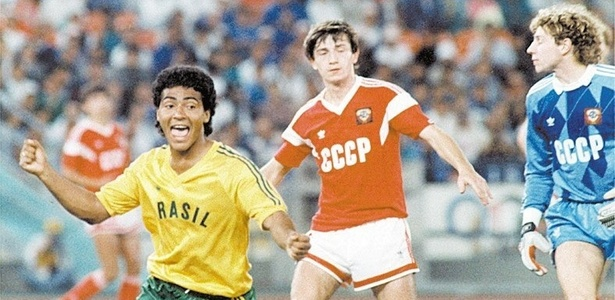 Romário comemora ao marcar para o Brasil contra a URSS na Olimpíada de Seul-1988