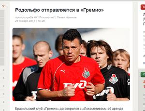 O site do Lokomotiv foi mais rápido que o Grêmio e anunciou o acerto do  jogador 052e09f394cf8