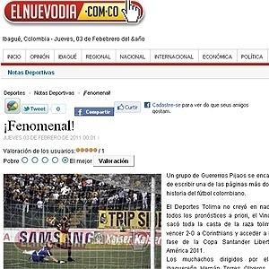 Jornal El Nuevo Dia celebra vitória do Tolima sobre o Corinthians: