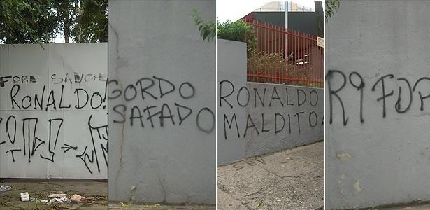 Montagem do protesto da torcida contra Ronaldo