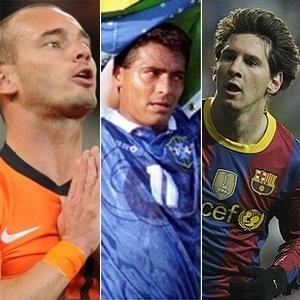 Sneijder, Romário e Messi em montagem