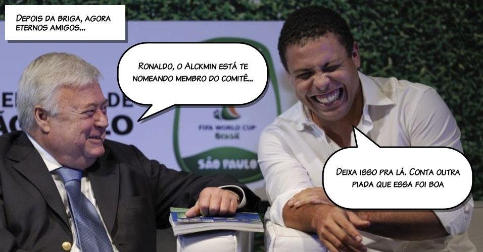 Em quadrinhos: Ricardo Teixeira e Ronaldo em evento do comitê paulista para a Copa de 2014