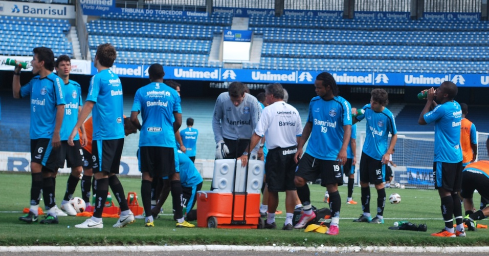 Grêmio no útlimo treino antes da partida contra o Oriente Petrolero-BOL