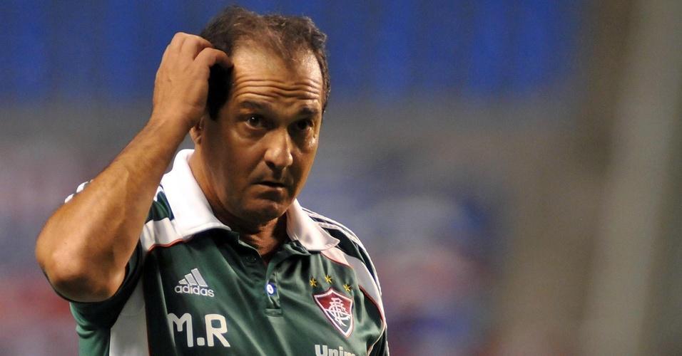 Técnico Muricy Ramalho comanda o Fluminense contra o Nacional-URU em partida no Engenhão, pela Libertadores