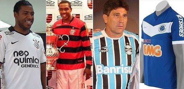 Montagem com as camisas de Corinthians, Flamengo, Grêmio e Cruzeiro