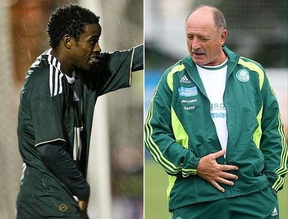 Montagem com as danças de Adriano 'Michael Jackson' e o técnico Luiz Felipe Scolari
