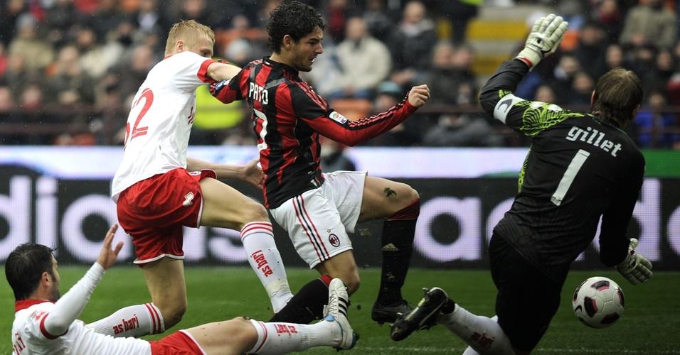Pato tenta passar pela marcação do Bari (13/03/2011)