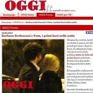Jornal italiano flagra o que seria o primeiro beijo do casal Pato e Barbara Berlusconi