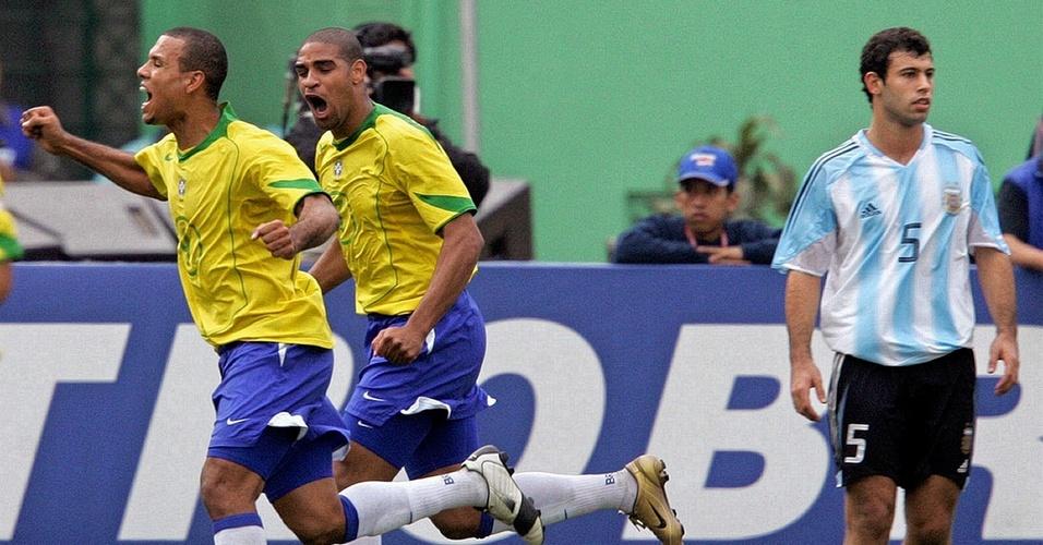 Adriano e Luis Fabiano na seleção