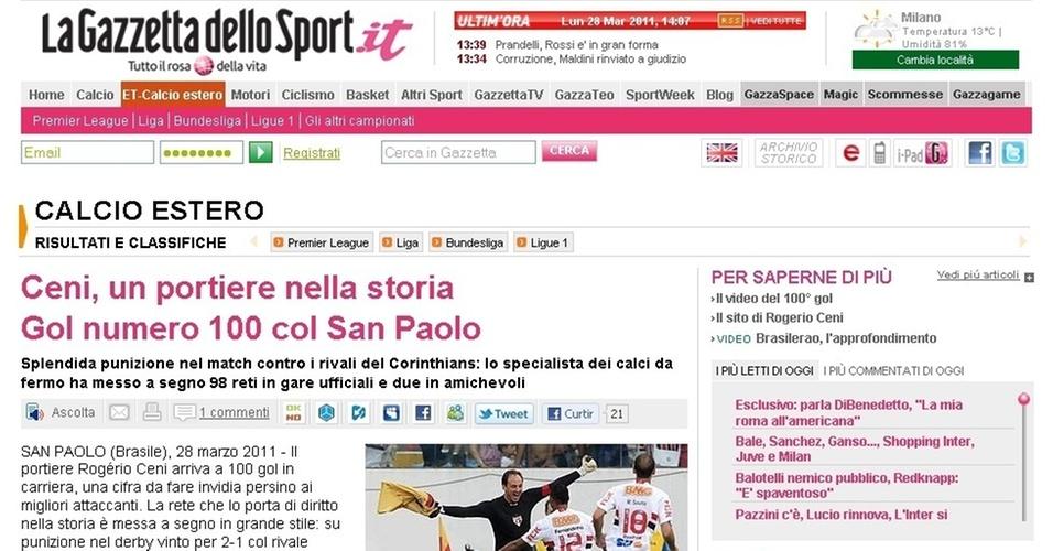 Jornal italiano La Gazzetta dello Sport celebra Rogerio Ceni