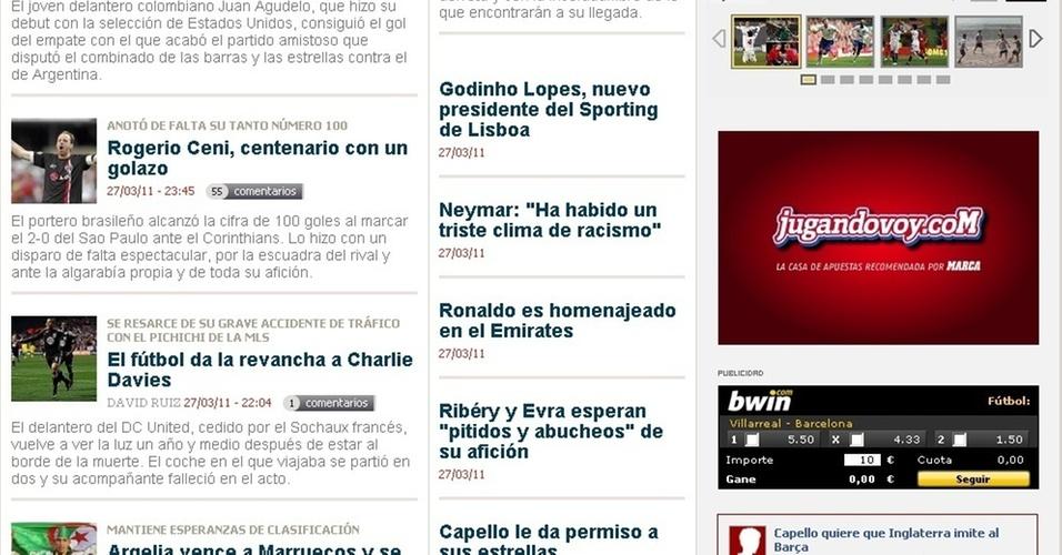 Jornal Marca, da Espanha, destaca beleza do gol de Rogério Ceni