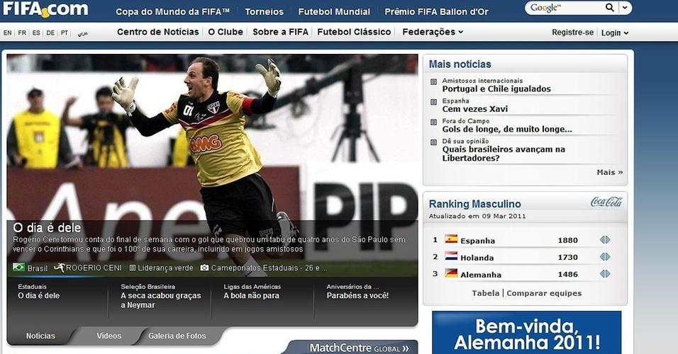 Reprodução do site da Fifa exaltando o 100º gol de Rogério Ceni
