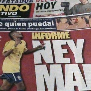 Repodução da capa do jornal Mundo Deportivo, de Barcelona, com matéria sobre o atacante Neymar