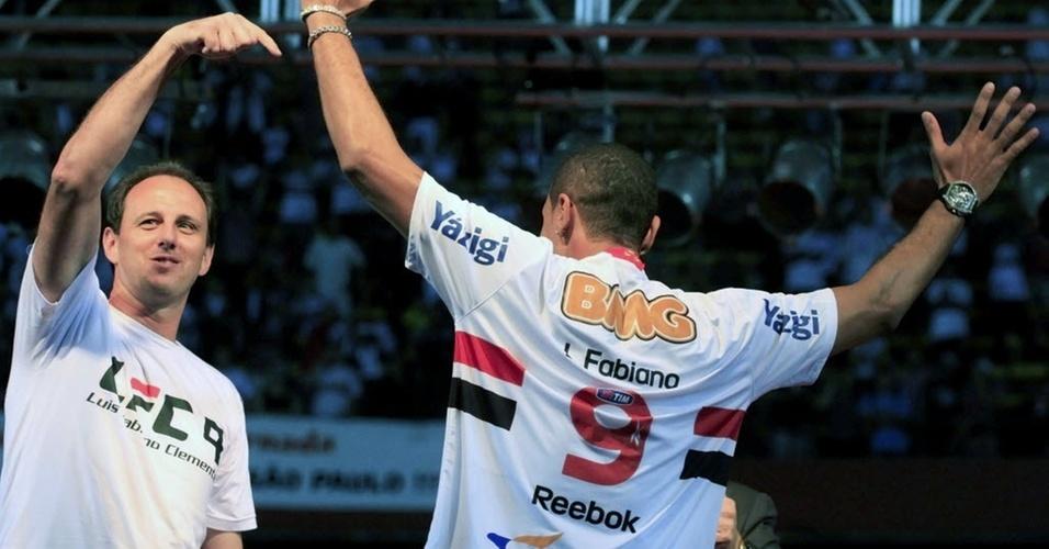 Rogério Ceni e Luis Fabiano no Morumbi