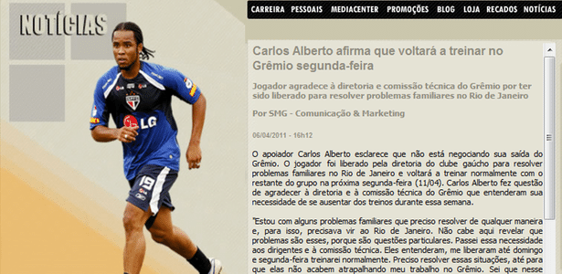 Print Screen do Blog de Carlos Alberto (06/04/2011)