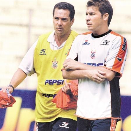 Luxemburgo e Luizão nos tempos em que os dois estavam no Corinthians, em 2001 - Fernando Santos/Folhapress