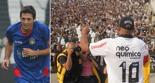 Eduardo, do São Caetano, comemora gol contra o Corinthians; Adriano é apresentado no Pacaembu