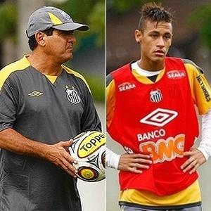 Muricy Ramalho e Neymar em montagem de treinamento do Santos