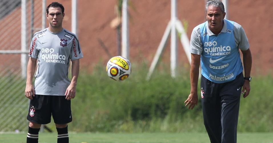 Bruno César e Tite, durante treino no Corinthians