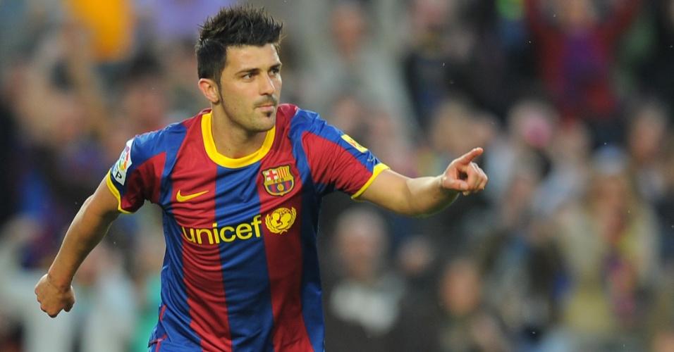David Villa comemora o gol do Barcelona contra o Osasuna, pelo Espanhol (23/04/2011)
