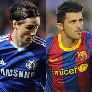 Fernando Torres, do Chelsea, e David Villa, do Barcelona, acabaram com jejum de gols no sábado de Aleluia (23/04/2011)
