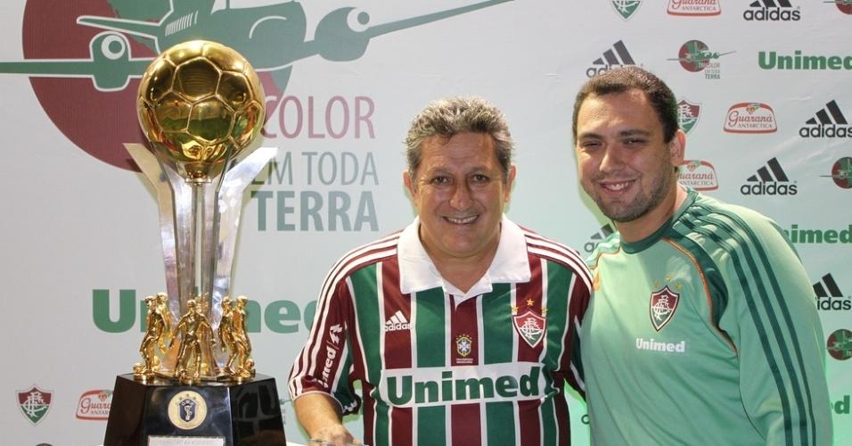 Romerito em evento do Fluminense no Engenhão antes da partida contra o Libertad-PAR (28/04/2011)