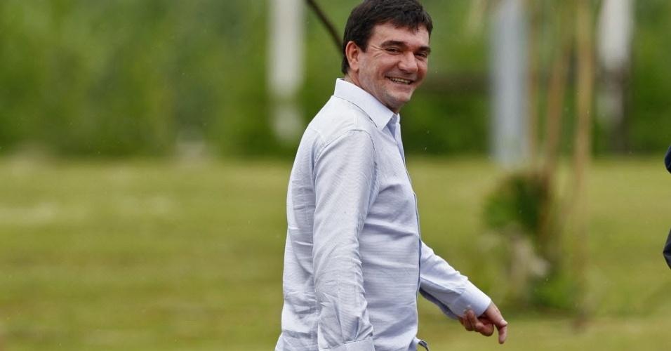 Andrés Sanchez, presidente do Corinthians, durante treino da equipe