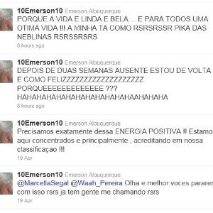 Emerson Sheik debochou da eliminação do Fluminense em seu Twitter (6/05/2011)